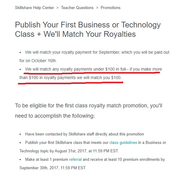Skillshare Match Royalty Bonus Rules