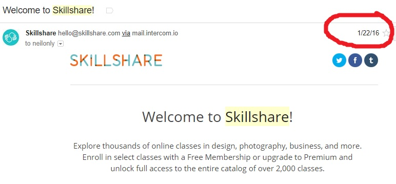 Skillshare Welcome Email