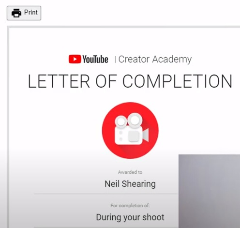 Letter of course completion.