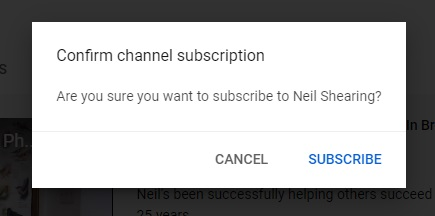 Confirm channel subscription prompt at YouTube.