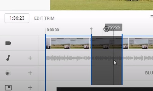 Using the YouTube editor to excise the dull part of the video.