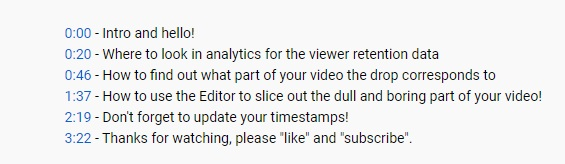 Update your video timestamps after deleting part of your video.